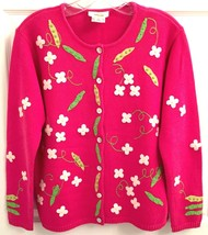 Talbots Women's Sz S Pink Cardigan Sweater Flowers & Peas EUC - $22.76