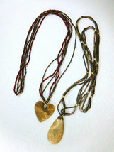 """2 Vintage Carved Heart & Teardrop Lace Agate Pendant Beaded Necklaces 30"""" Long - $4.70"""