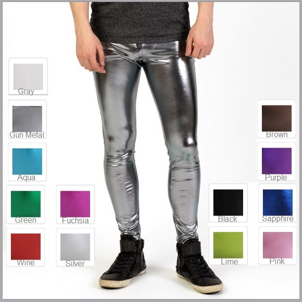 Primary image for Men's Skin Tight Stretch Faux Latex Zip Up Metallic Candy Color Legging Pants