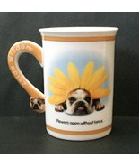 Zelda Wisdom Lessons From Nature Bulldog Mug Coffee Cup Bumble Bee Flower   - $29.69