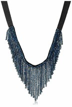 Saachi Navy Blue Austrian Crystal Beads V-Cut Collar Necklace NWT