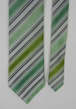 Kenneth Cole Reaction Mens Neck Tie Green Gray Black Diagonal Stripes 100% Silk - $19.79