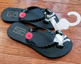kate spade New York Denise Black Bow Gold Spade Flip Flops Sandals - $29.99