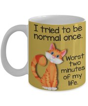 Worst Two Minutes Of My Life.Funny Cute Cat Gold 11 oz White Ceramic Coffee o... - $15.99