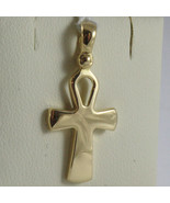 SOLID 18K YELLOW GOLD CROSS, CROSS OF LIFE, ANKH, SHINY, 1.02 INCH MADE ... - £220.24 GBP