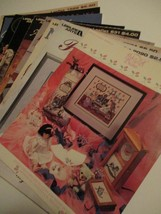 Lot of 10 Vintage Cross Stitch Knitting Fabric Crafts Sewing Instruction... - $23.42