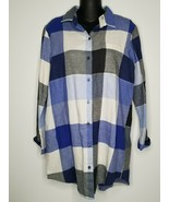 Old Navy Womens Flannel Cotton Button Down Blue Shirt Blouse Top S P Cot... - $19.99