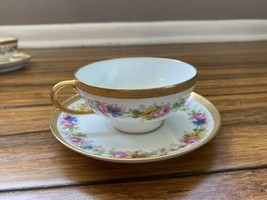 Limoges Tea Cup and Saucer - Made in France- Gold Edging Floral Pattern - $21.78