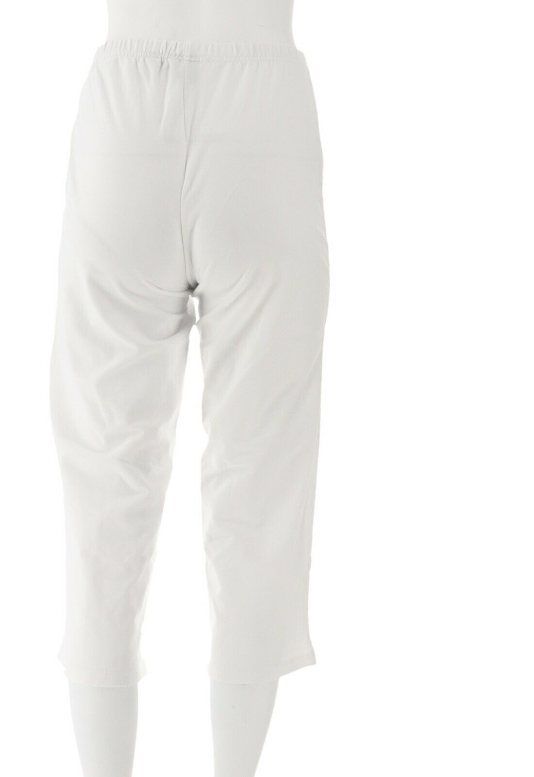 Women with Control Petite Pull-On Pintuck Crop Pants White PS NEW A306463