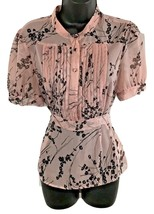 APT. 9 Women Pink Pleated Yoke Empire Bodice Pink Floral Short Sleeve S.... - $23.33