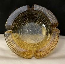 Vintage Anchor Hocking Soreno Bird Nest Glass Ashtray Amber Gold Mcm - $11.26