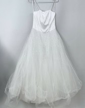 Mori Lee PURE WHITE Wedding Gown 7/8 Princess Tulle Sequins Make Baby Gi... - $249.00