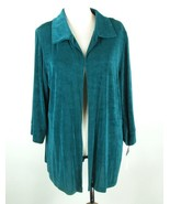 THE TRAVEL COLLECTION Size 1X New NWT Teal Slinky Knit Jacket Open Front - $29.99