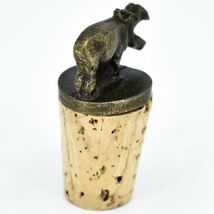 South African Cast Metal w Antique Brass Finish Hippo Wine Bottle Cork Stopper image 4