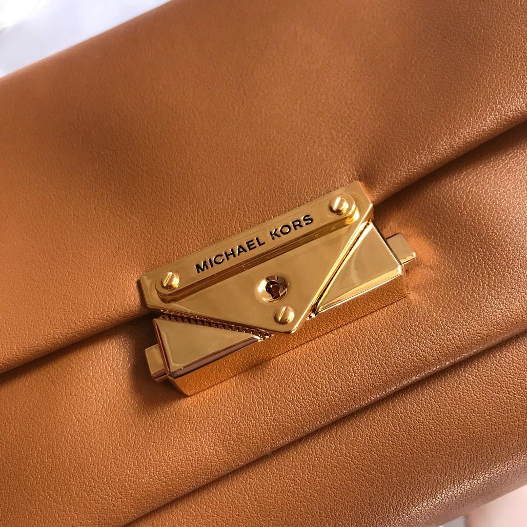 Michael Kors Cece Chain Medium Shoulder Bag Brown Auth