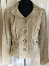 Ann Taylor Loft Tan Suede Leather Blazer Jacket Women's 4 - $22.76