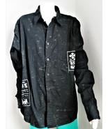 Guess Sound Invasion Designer Shirt Button-Up Black Gray Splotches Mens ... - $29.70