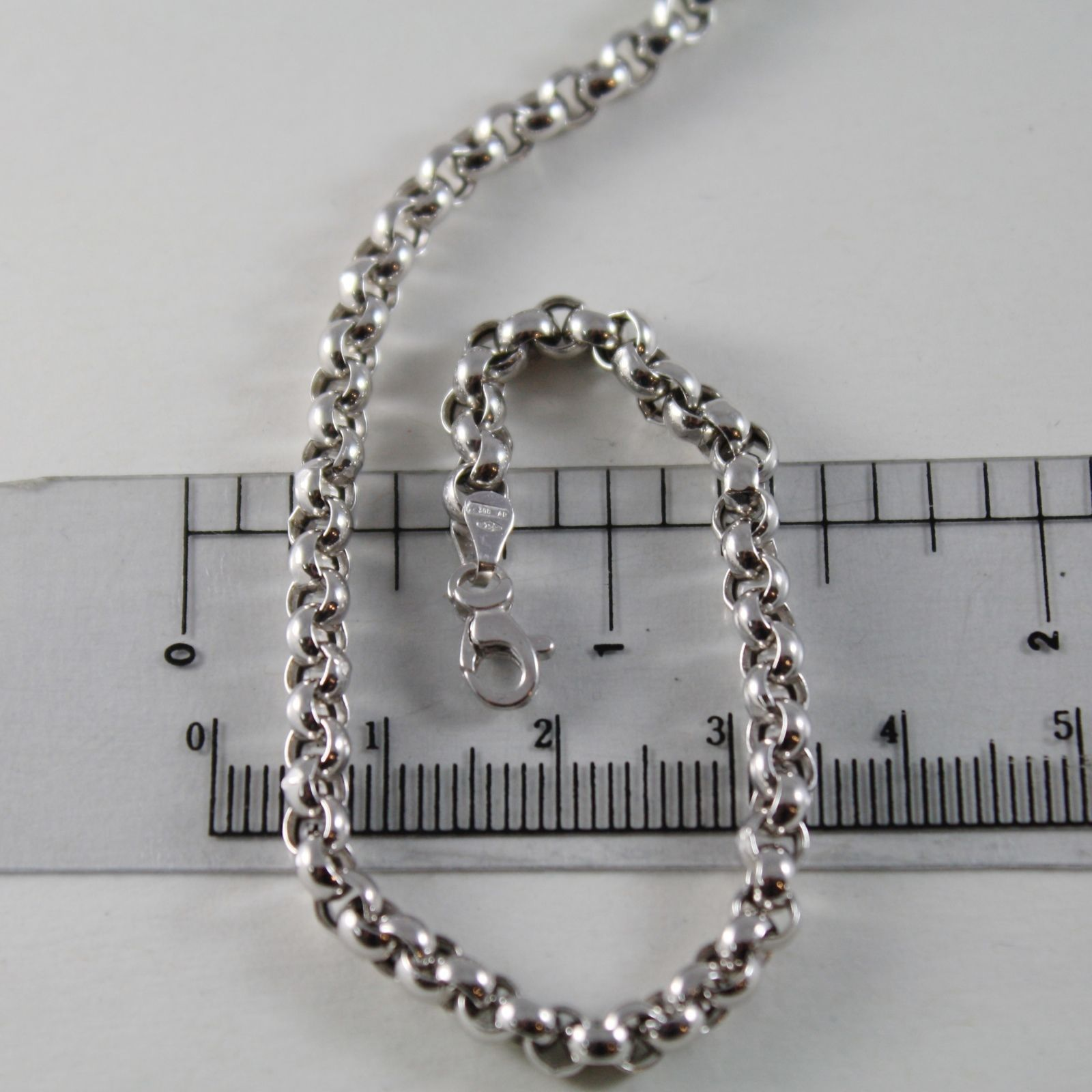 18K WHITE GOLD CHAIN 17.70 IN, BIG ROUND CIRCLE ROLO LINK, 4 MM MADE IN ITALY