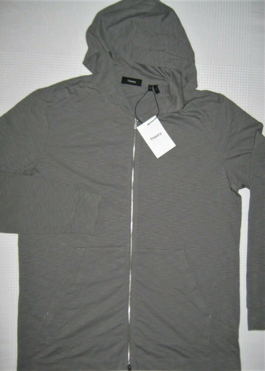 Theory Layer Zip Hooded Sweatshirt Slim-Fit Gray Soft Cotton Jacket Sweater L