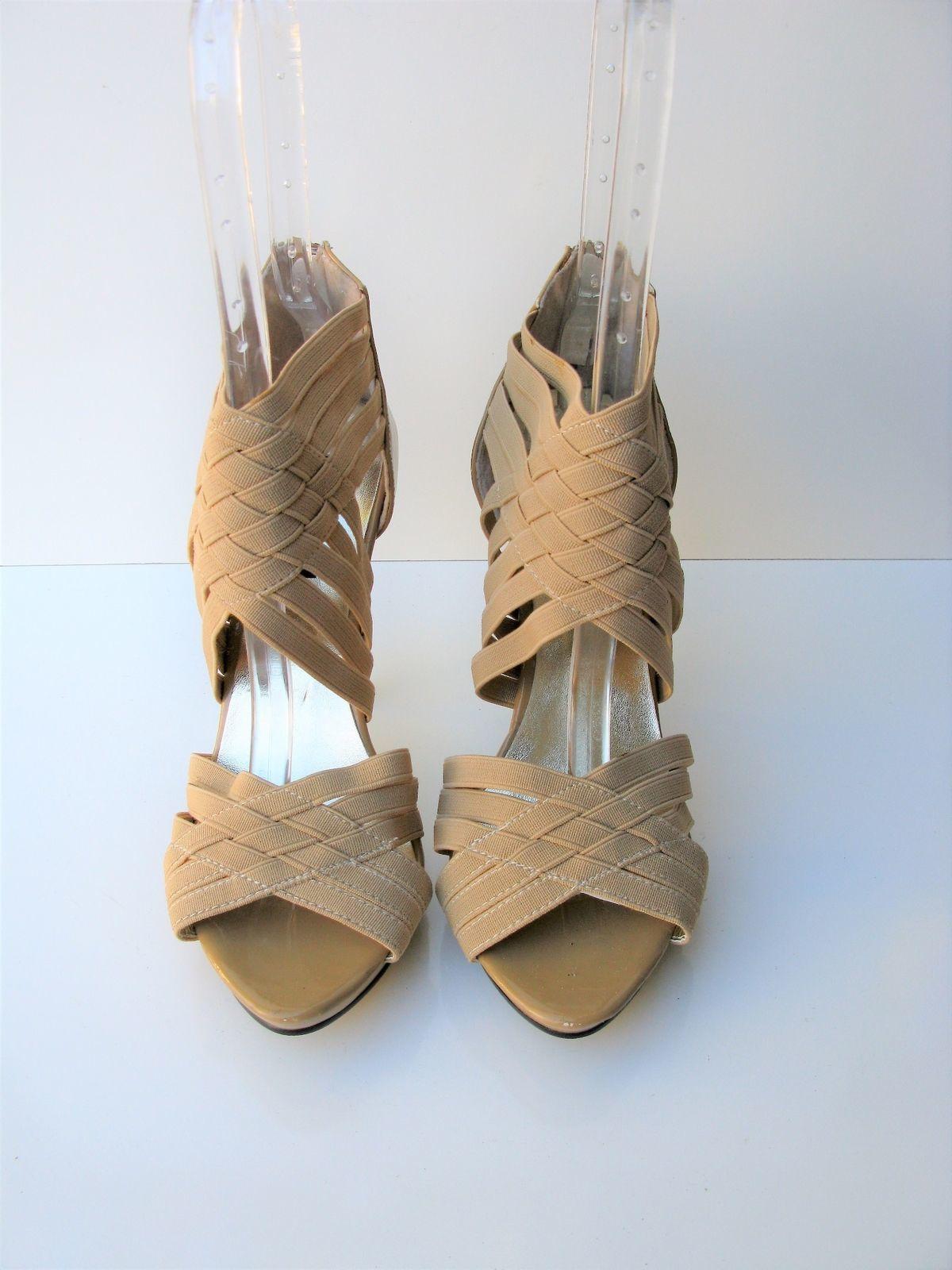 Roberto Heeled Sandals Strappy Caged Bandage Platform Stiletto Heels 38 NWOB
