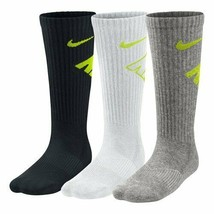 Nike Youth 3PK Cushioned Crew Socks White/Black/Gray 3Y-5Y SX4715-972 - $19.99