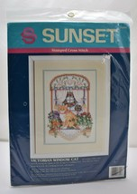 """Sunset """"Victorian Window Cat"""" Stamped Cross Stitch Kit - New Sealed Package - $14.20"""