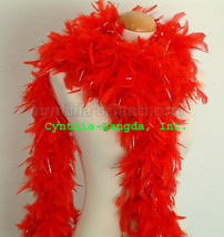 Red w/Silver Tinsel 65 Grams Chandelle Feather Boa Dance Party Halloween... - $8.19