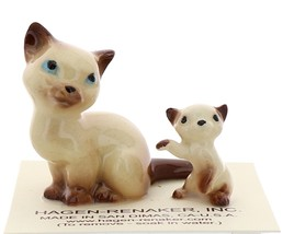 Hagen-Renaker Miniature Cat Figurine Siamese Mama and Kitten Chocolate Point image 1