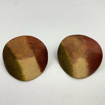 Vintage Big Multi Tone Wooden Earrings Pierced Round Wavy Texture Bold S... - $11.84