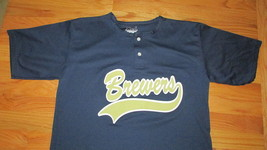 Milwaukee Brewers adult large L screen print jersey style blue shirt top 24 MLB - $9.89
