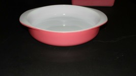 VINTAGE PYREX OVENWARE USA PINK FLAMINGO DESERT DAWN CASSEROLE DISH MILK... - $29.65
