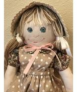 """Handmade Cloth Rag Doll Soft Cuddly Handcrafted Stuffed 18"""" Doll - $44.95"""