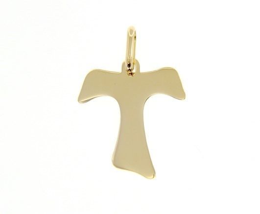 18K YELLOW GOLD CROSS, FRANCISCAN TAU TAO SAINT FRANCIS 1.1 inches MADE IN ITALY