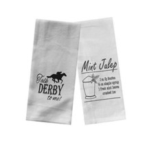 Derby Party Tea Towels Set of 2 - Talk Derby To Me & Mint Julep Recipe - $29.00