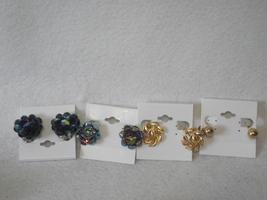 Vintage earrings lot clip on gold tone ball leaf blue carnival floral cluster - $20.00