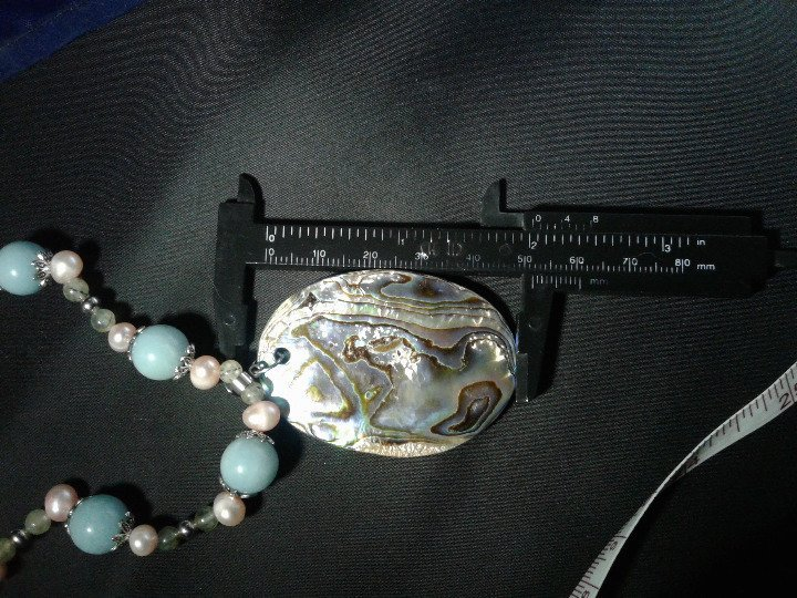 """19.5"""" Handmade Amazonite, Pink Pearl, and Epidote Beaded Necklace w Pendant Z294"""
