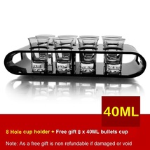 Black U-Shaped Tray Bar Club Small Bullets Cup Holder 8 Holes + Gift 40ml Glass - $47.47