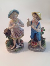 HOMCO Figurine Set Farm Boy & Girl Fruit Bird 8880 Porcelain - $29.16