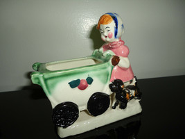 Little Girl Pushing Baby Carriage & Dog Figurine Planter Vintage Made in... - $67.50