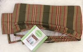 "WAVERLY Sweetwater Stripe AMANDA Olive Green Red Tan Tucked VALANCE 79"" ... - $21.77"