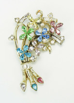 Vintage Pastel Pear Rhinestones Floral Brooch - $10.00