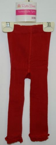 RuffleButts RLKRD120000 Red Ruffle Footless Tights Size 12 to 24 Months