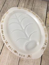 Vintage Fire King Meat SERVING PLATTER & Gravy Well Milk Glass Gold Acce... - $21.46
