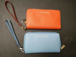 MICHAEL KORS SAFFIANO LEATHER LG FLAT MF PHONE CASE WALLET IN blue orange - £38.05 GBP