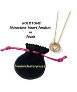 Necklace Rhinestone Heart Pendant in Pouch Goldtone Necklace w/Black Pou... - $21.73