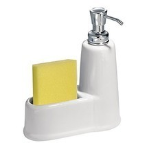 InterDesign York Ceramic Soap Dispenser Pump and Sponge Caddy - Kitchen ... - $19.77