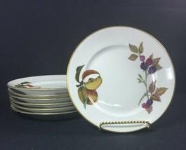 Set of 7 Bread & Butter Plates Royal Worcester Evesham Fruit Design Gold Trim - $44.99