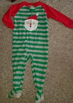 CARTER'S Green Striped and Red SANTA Fleece Blanket Sleeper Size 2T - $4.66