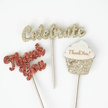 12 Glitter Thank You Celebrate Cupcake Picks Birthday Wedding Shower Topper - $13.90