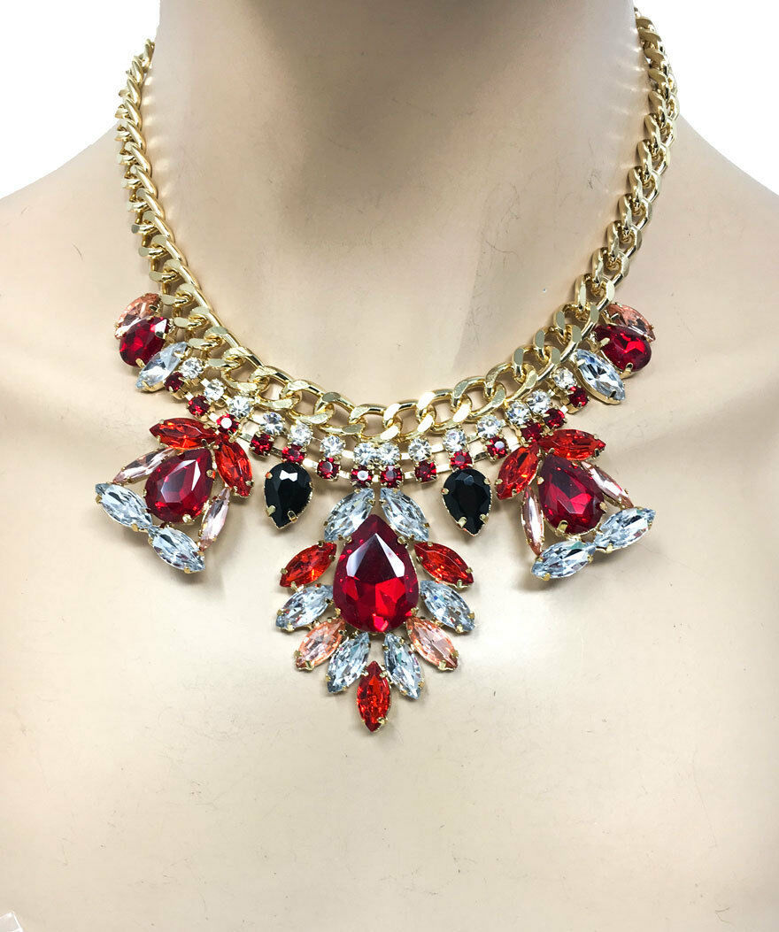 Primary image for Turkish Look Red Rhinestones Statement Necklace Earrings, Casual Chic, Trendy